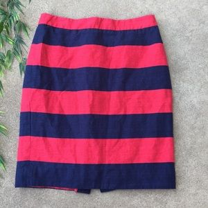 J. Crew Striped Linen Blend The Pencil Skirt